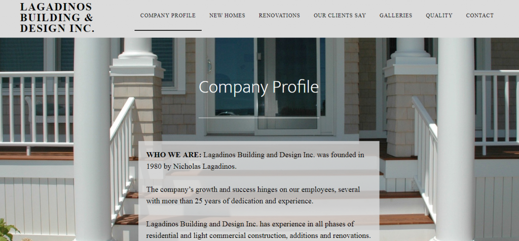 Screenshot of Lagadinos Building and Design website