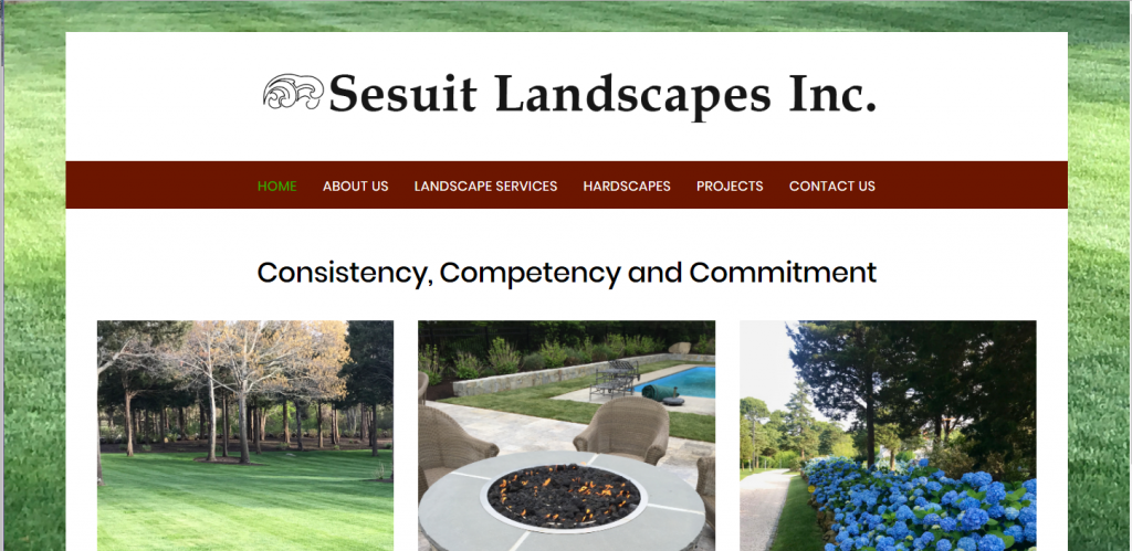 Screenshot of homepage of Sesuit Landscapes website