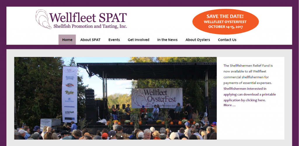 Wellfleet SPAT, Wellfleet OysterFest producers, website screenshot